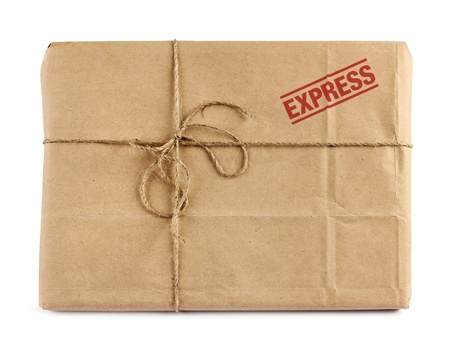 cardboard box: Brown mail package parcel wrap express delivery Stock Photo