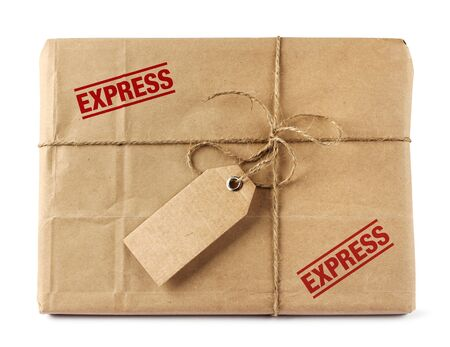 Brown mail package parcel wrap express delivery photo