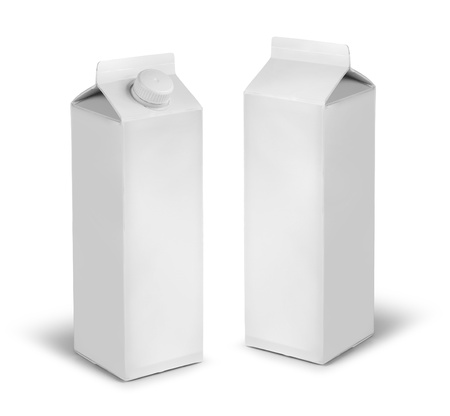 packaging design: Blank milk or juice carton cans dummy isolated on white Stock Photo