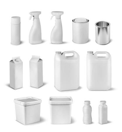 caja de leche: Blank colecci�n ficticia contenedor paquete conjunto aislado en blanco
