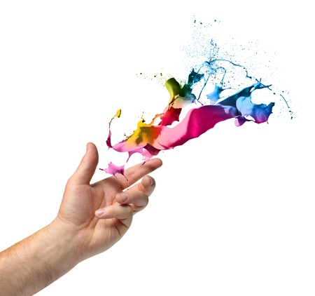 Creativity concept, hand throwing color paint splash isolated on white Archivio Fotografico