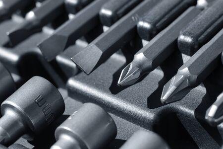 bit: Hard metal tool bits box macro closeup