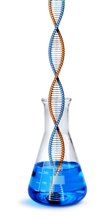 DNA helix growing from labotatory test tube glass beaker