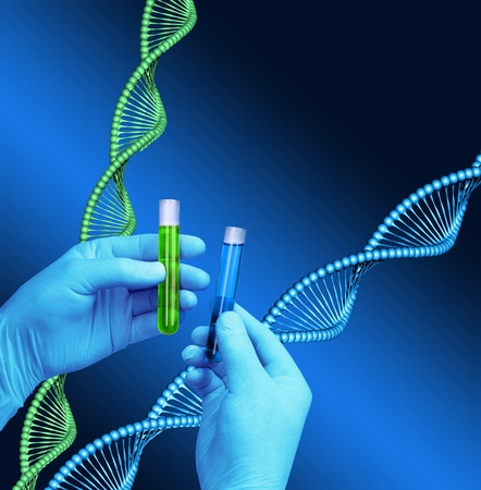 Chemist hands holding test tubes, DNA helix model background Stock Photo