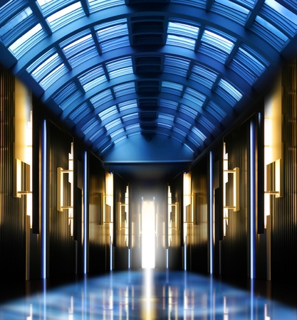 Futuristic perspective hallway modern glass roof corridor photo