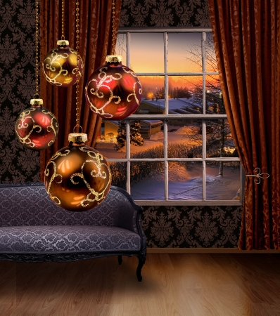 Christmas balls hanging in front of winter street view window, classic furniture interior photo