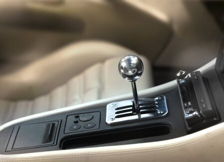 gearshift: Sports car interior, chromed manual gearshift stick knob