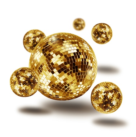 disco ball: Golden disco mirror balls atomium molecule isolated on white background Stock Photo