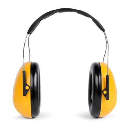 Negro y amarillo o�r protectores aislados sobre fondo blanco Foto de archivo