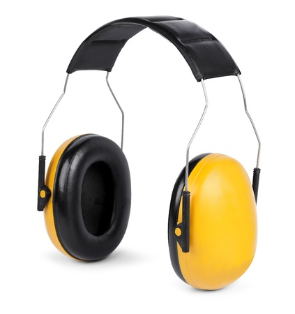 ear protection: Yellow black hear protectors isolated on white background