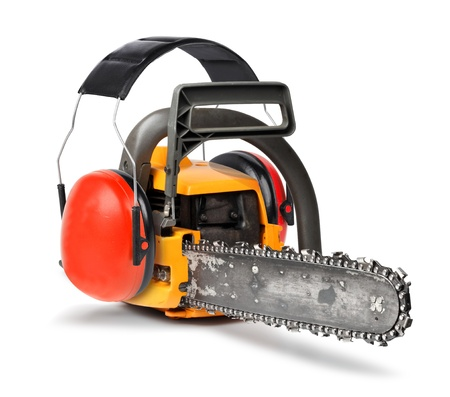 protectors: Chain saw with ear protectors, working safety concept