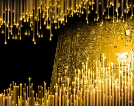 circuito integrado: Edad de oro del concepto de la tecnología informática de fondo Foto de archivo
