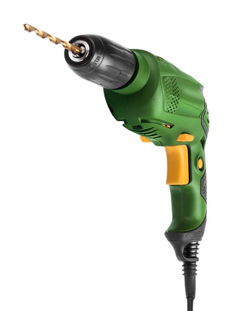 electric drill: Green yellow electric drill tool front view isolated on white