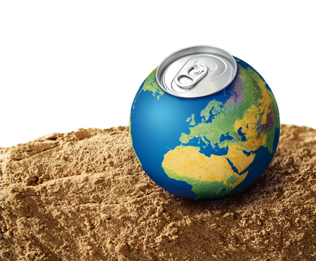 shortage: Thirsty planet Earth on dry soil sand, water shortage concept