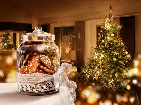 Gingerbread cookies jar Christmas tree room background