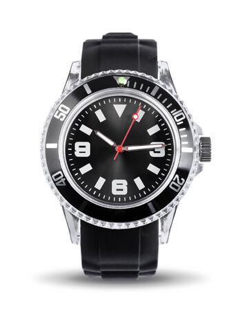 cronografo: Reloj moderno reloj cron�grafo deportivo aislado en blanco Foto de archivo