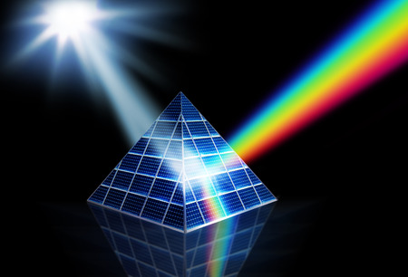 Solar panel prism turning sunlight into energy spectrum