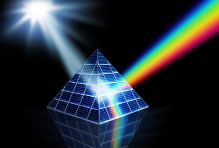Zonnepaneel prisma draaien zonlicht in energie-spectrum