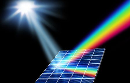 prism: Solar panel collector turning sunlight into energy spectrum Stock Photo
