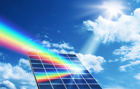 Solar energy panel collector reflecting sunlight spectrum photo