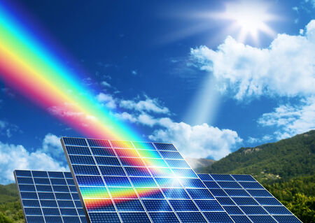 solar collector: Solar energy panel collector reflecting sunlight spectrum