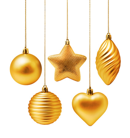 modern christmas baubles: Golden Christmas decoration elements isolated on white background Stock Photo