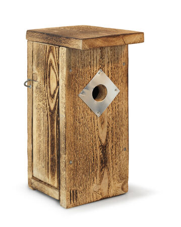 selfmade: Wooden birdhouse self-made nesting box isolated on white