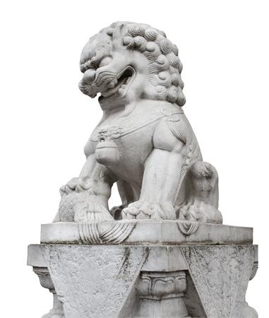 Chinese stone lion statue on base isolated photo