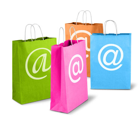 online purchase: E-commerce net trade concept, colorful shopping bags online