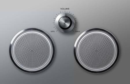adjust: Realistic round metal loudspeakers with volume adjust knob