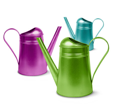 galvanised: Colorful retro watering cans isolated on white, gardening concept