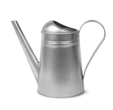 galvanised: Classic galvanised metal retro watering can isolated on white