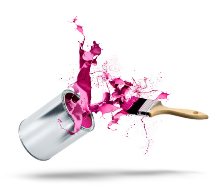 Paint can and brush fall bursting pink red color splash Stock Photo