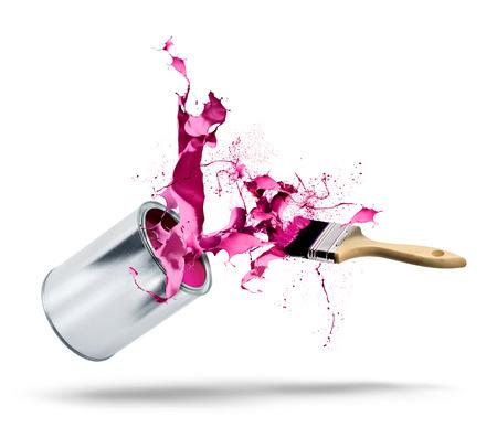 Pot de peinture et pinceau automne éclatant de couleur rose rouge splash