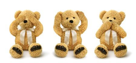 Three teddy bears see hear speak no evil, child abuse concept