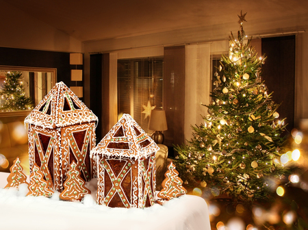 Gingerbread cookies cottages Christmas tree room background photo