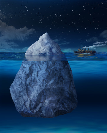 iceberg: Big ocean liner ship about to hit floating iceberg