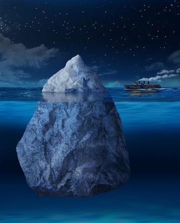 Grote oceaanstomer schip over aan drijvende ijsberg raken