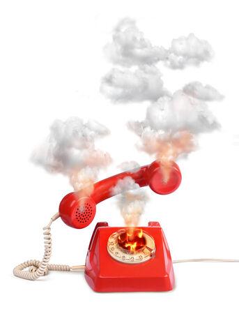 Hot line vintage telephone, isolated on white photo