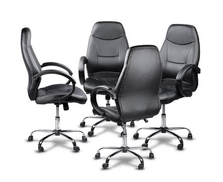 office chairs: Four office chairs having a meeting, teamwork concept