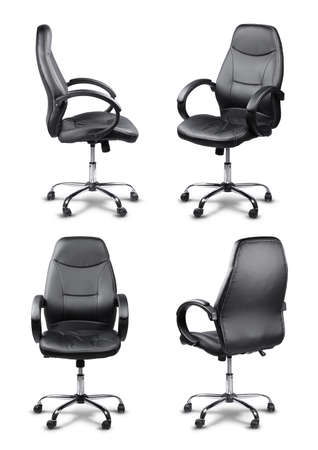 Office chair set black leather manager style, isolated on white photo