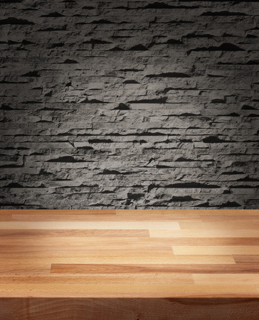 Product photo template wooden table modern stone wall background photo