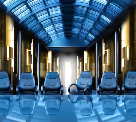 futuristic interior: Meeting of the board futuristic office interior