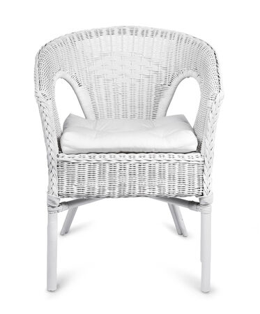 cane chair: White wicker chair isolated on white background