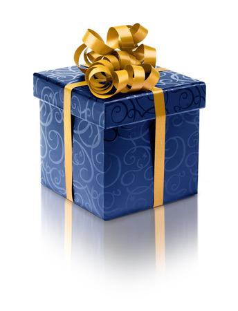 ribbon bow: Stylish blue present box with golden ribbon bow Stock Photo