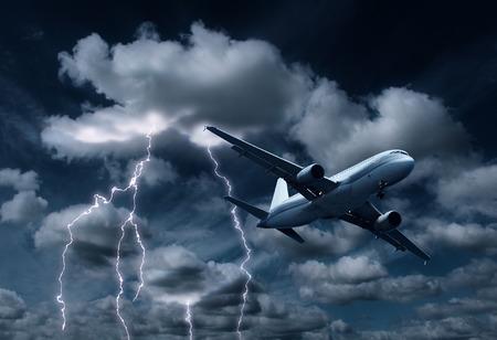 lightnings: Passenger aeroplane yielding turbulent thunderstorm and lightnings