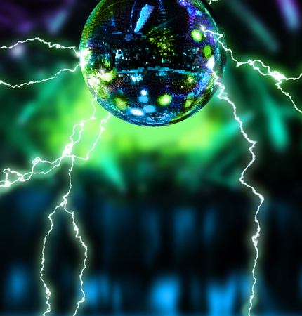 ball lightning: Electrifying disco mirror ballnight club background