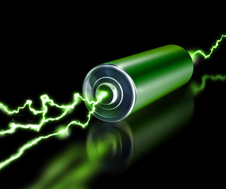 Green energy power supply battery sparks on dark background Archivio Fotografico