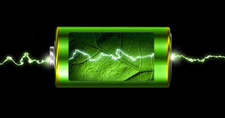 Opened green energy battery cell power spark isolated Foto de archivo