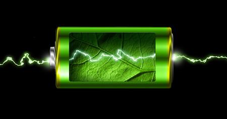 Opened green energy battery cell power spark isolated Standard-Bild